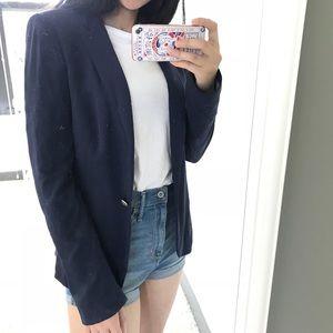 Zara single button blazer, navy